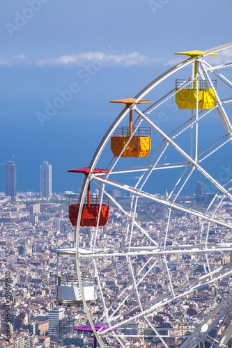 Panoramic view of the Catalan capital from Tibidabo mountain Poster
