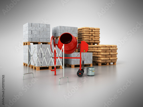 Building material 3d on a gray background
