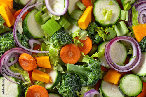 Close-up of sliced raw vegetables