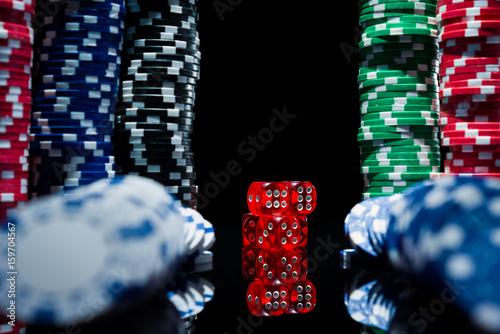 Dice and casino chips плакат