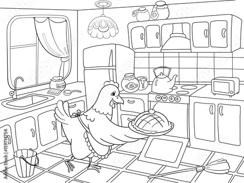 Mom chicken in the kitchen prepares food for the family coloring book for children cartoon vector illustration
