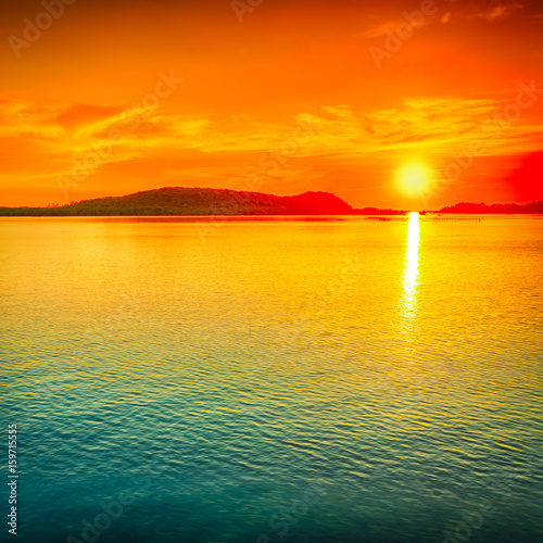 Tuinposter Oranje Sunset