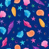 Bez szwu deseń ręcznie rysowane seashells i starfishes. Styl kreskówki.