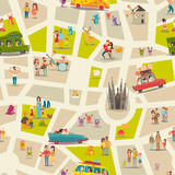 Abstract map seamless vector background. Street map pattern, detailed illustration. People, happy families, childrens, musicians and animals on abstract map wallpaper. Cartoon style pattern