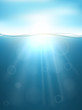 Underwater vertical banner in sea with sunlight shining under. Blue sky and sun on top, vector illustration for water design