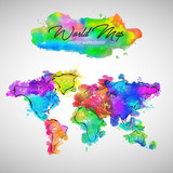 World Map Watercolor...