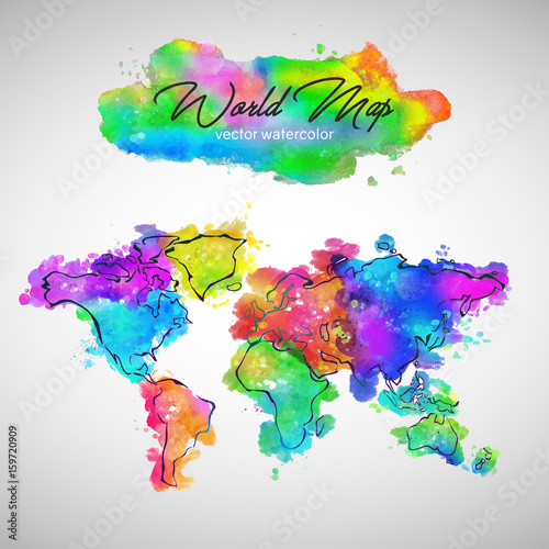 Canvas Wereldkaarten World Map Watercolor Paint Vector