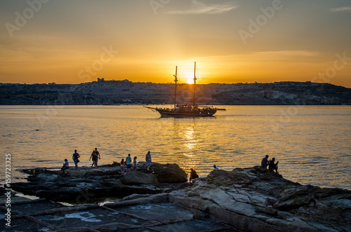 Foto op Aluminium Schip Sunset - Tall ship