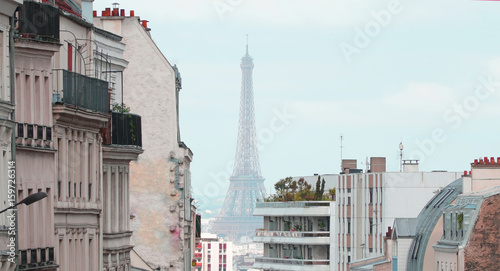 View on Eiffel Tower and urban street in Paris, France © denys_kuvaiev