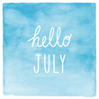 Hello July text with blue watercolor background