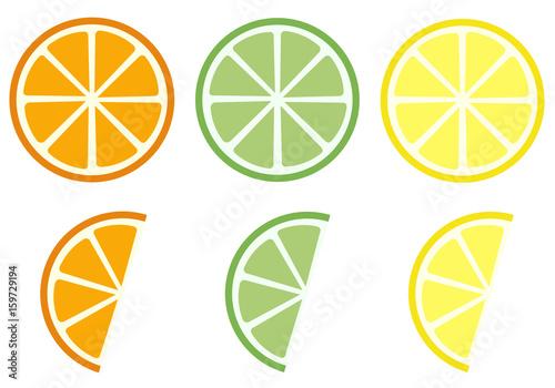 Citrus Früchte Orange, Limette und Zitrone - 159729194