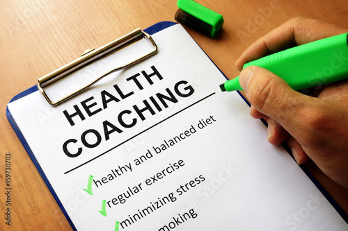 Foto Murales Clipboard with health coaching list. Healthy living concept.