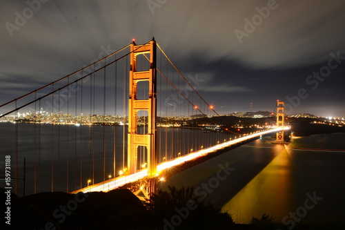Night view of Golden Gate in San Francisco from Battery Spencer viewpoint