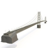 Akashi Kaiky Bridge on white. 3D illustration