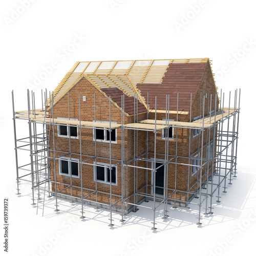 construction of private houses of brick on white. 3D illustration