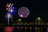 Fireworks over the Mississippi River and the Clark Bridge in Alton Illinois.