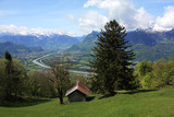 Swiss landscape with mountain