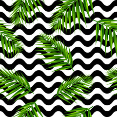 Palm leaf on black waves seamless pattern. Vector Illustration.