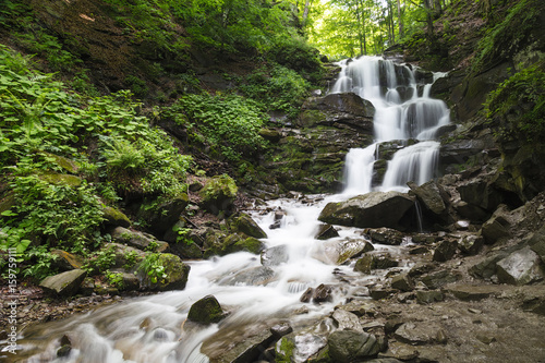 Mountain waterfall Shipot. Carpathians. Ukraine - 159759111