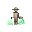 Farmer man with shovel filled outline icon, line vector sign, linear colorful pictogram. Symbol, logo illustration