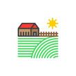 Farm house filled outline icon, line vector sign, linear colorful pictogram. Village symbol, logo illustration