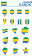 Постер, плакат: Gabon Flag Collection Big set for design