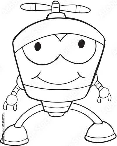 Fotobehang Cartoon draw Robot Vector Illustration Art