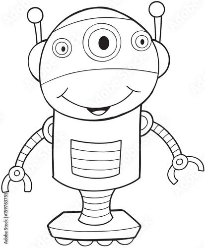 Aluminium Cartoon draw Robot Vector Illustration Art