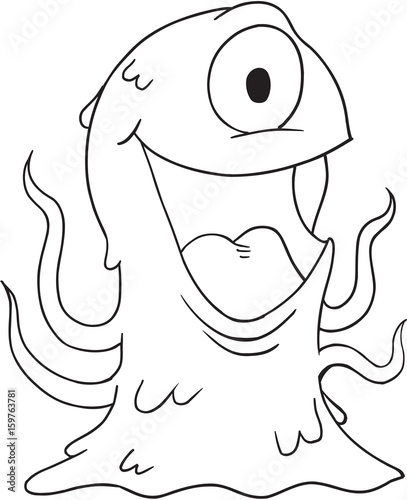 In de dag Cartoon draw Monster Vector Illustration Art
