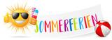 Sommerferien Banner mit Sonne, Eis und Wasserball - 159768343