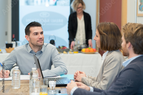 business people dining together