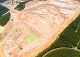 Aerial view to Kaznejov kaoline quarry. It is biggest quarry of its kind in Europe. Heavy industry from above. Industrial area in Czech Republic. - 159777364