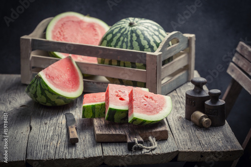 Delicious watermelon in a old rustic kitchen