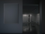 Big black picture frame at the entrance. 3d rendering