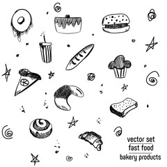 Hand Drawn bakery and fast food icon set. Blackboard stickers with chalk design. Vector illustration. Donut, soda, pizza and burger, cake, cupcake, baguette and Croissant for cut out.