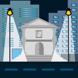 cityscape building with street metropolis in the night vector illustration