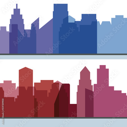 beautiful city with building towers vector illustration - 159789900