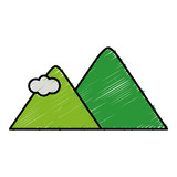 mountains icon over white background colorful design vector illustration