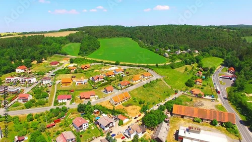 Camera flight over a medieval Plasy town in Czech Republic, Europe.