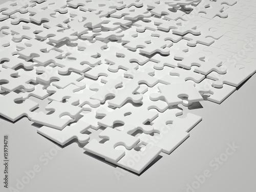 White puzzle. 3d rendering © ekostsov