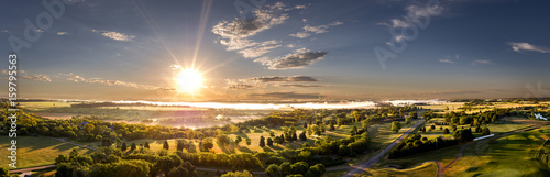 Tuinposter Ochtendgloren Aerial Morning Sunrise on the Horizon