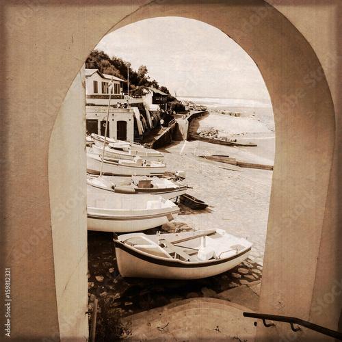 Port de pêche de Guéthary (Pays-basque français) / Effet photo ancienne