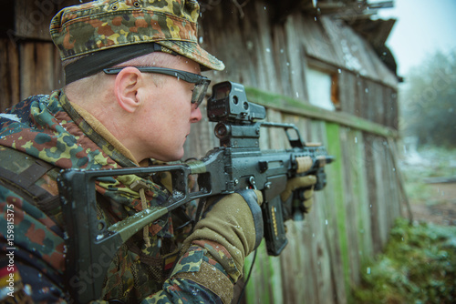 sniper with automatic rifle . airsoft Poster