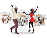 Series of street views in the old city. Street musicians and dancers.  Hand drawn vector architectural background with historic buildings. - 159821301