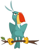 Illustration of a Cute Parrot. Cartoon Character
