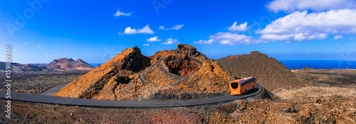 National park of Lanzarote- Timanfaya, with unique volcanic formations. Canary islands