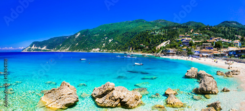 Turquoise beautiful beaches of Lefkada island, Agios Nikitas village .Greece
