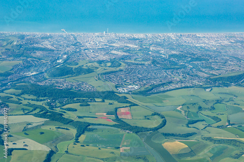 Fotobehang Groen blauw Brighton and the South Downs from the Air