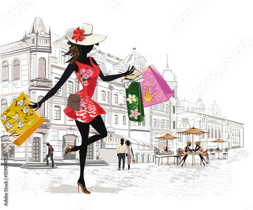 Fashion girl shopping in the old city. Series of architectural backgrounds.