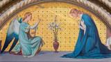 TURIN, ITALY - MARCH 15, 2017: The fresco of Annunciation in church Chiesa di San Dalmazzo by Luigi Guglielmino (1916). - 159863189
